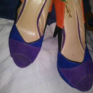 Alba Color Block Peep Toe Stilettos NWOB